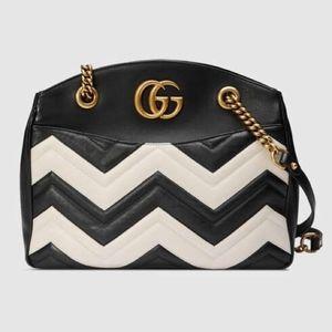 Gucci Marmont Matelasse Black & White Tote NWT